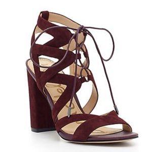 Sam Edelman Yardley Sandal Heels Wine Red Size 8
